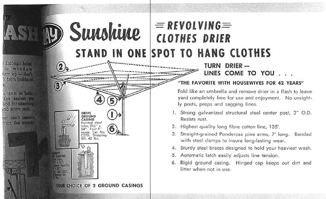 Pointing out the revolving feature of the Sunshine Clothes Dryer and how our clothesline folds up easily like an umbrella.